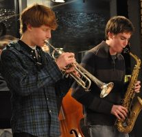 music students performing on sax and trumpet
